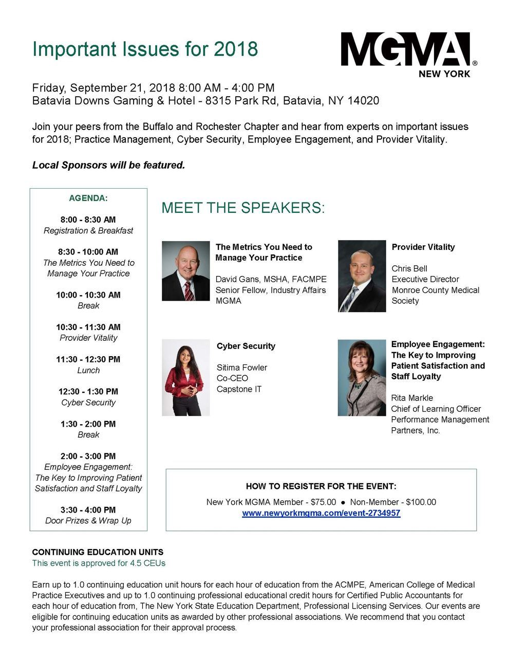 Monroe County Medical Society - Sept 21 MGMA Conference @ Batavia
